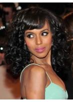 Unique Medium Curly Black African American Wigs